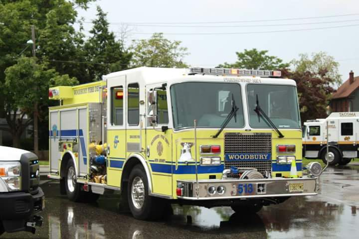 Engine 921 Assists Woodbuty FD with Wet Down  of New Apparatus
