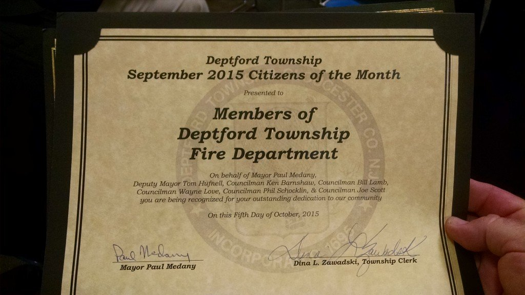 Deptford Fire Department Honored By Deptford Mayor and Council