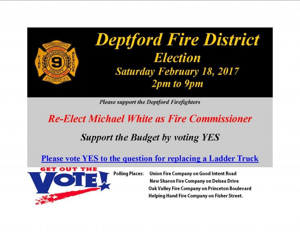 Deptford Fire District Election…Please Vote To Support Your Deptford Fire Department