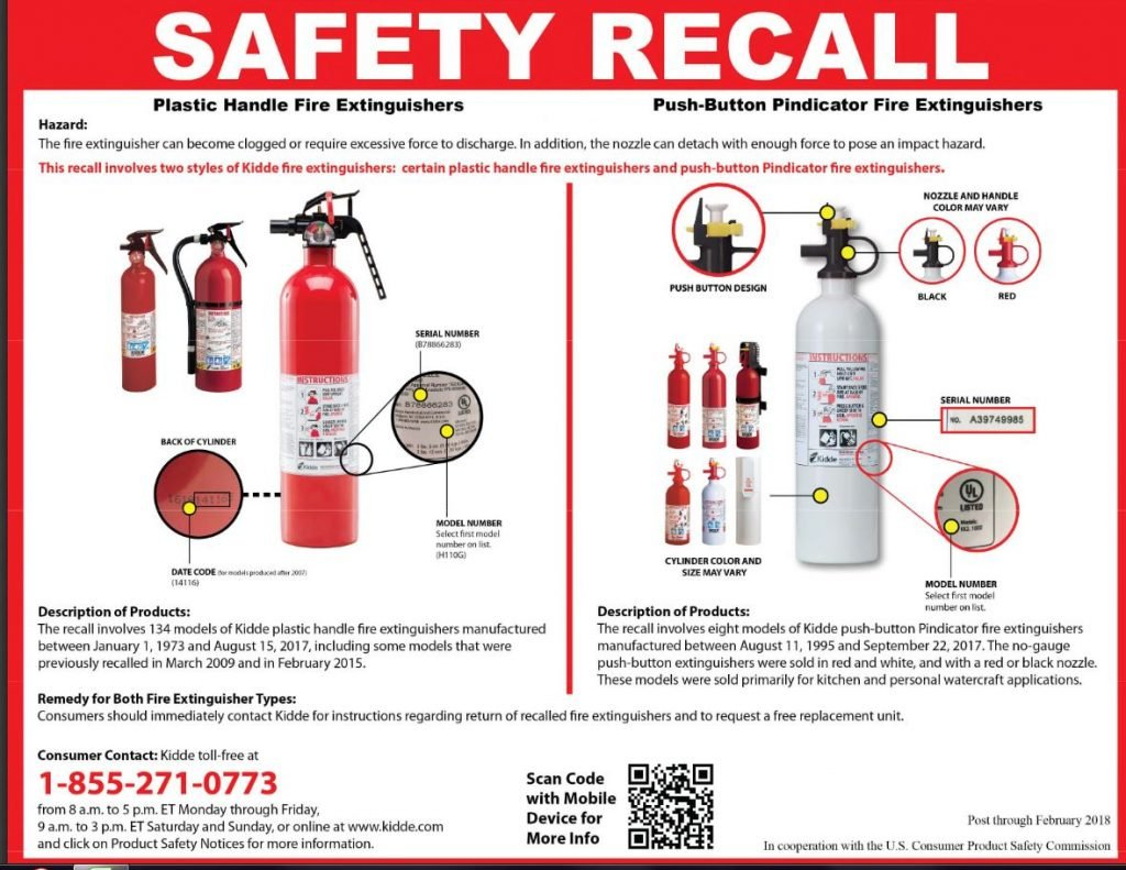 Kidde Recalls Fire Extinguishers  with Plastic Handles